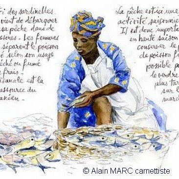 """Alain MARC Page extraite du carnet de voyage """"Sur la route des perles de Krobo"""""""